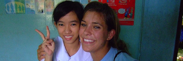 Alexis volunteering at a deaf school in Saigon, Vietnam