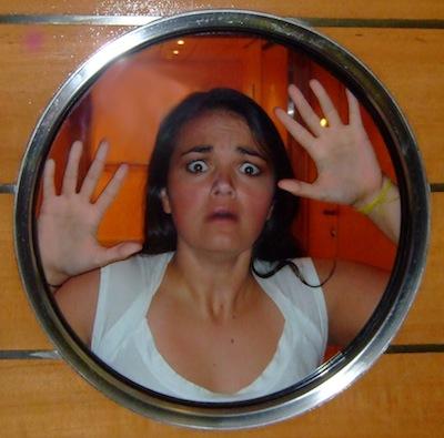 Lindsay in a porthole