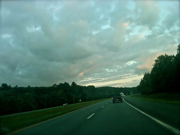 Beautiful skies while driving toward Irene and New York City