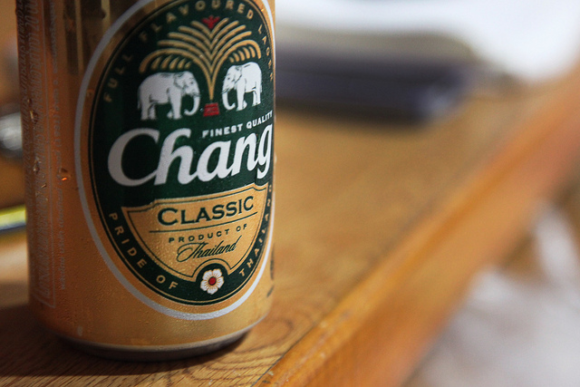 Chang beer while cooking in Thailand