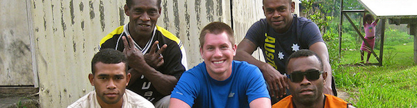Garrett and some Nakavika boys in Fiji