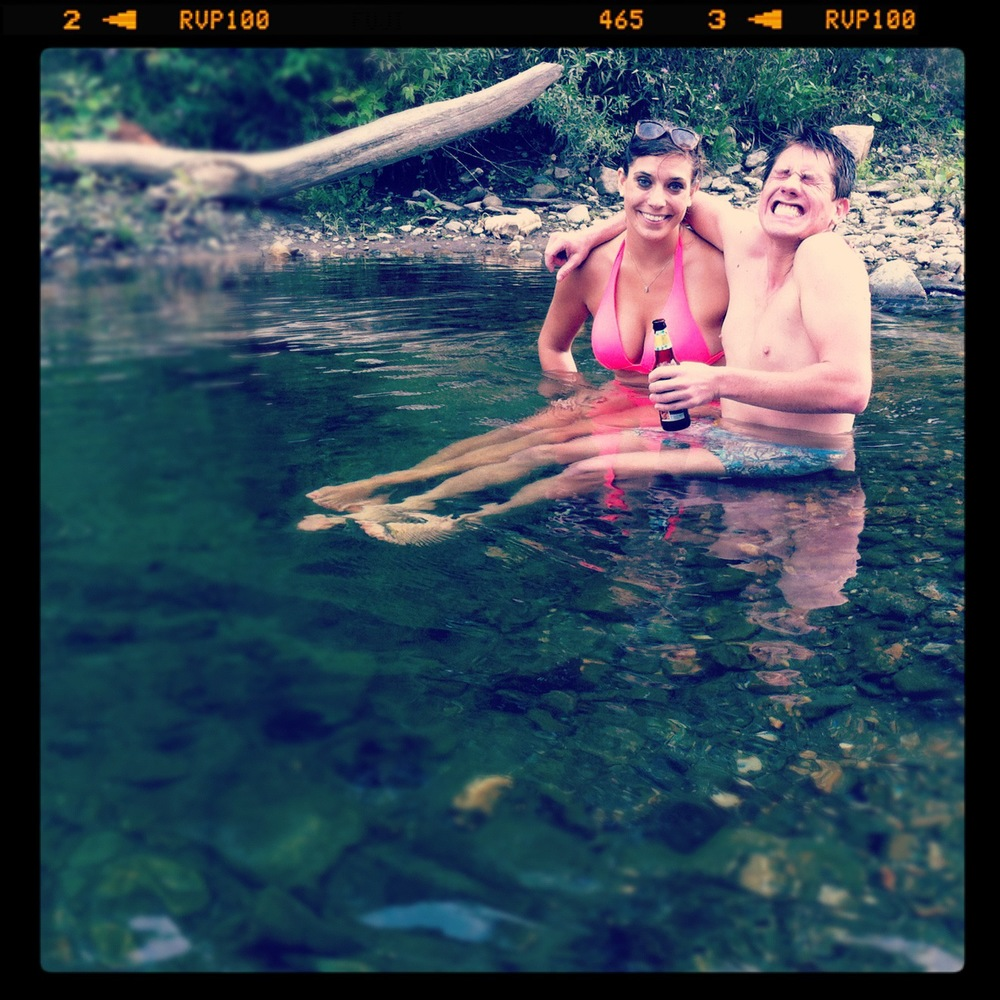 In the swimming hole with some brews in Vermont