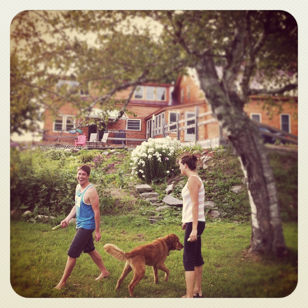 Playing in the backyard in Vermont with Hunter