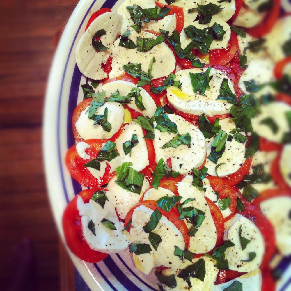 Caprese salad with fresh garden veggies
