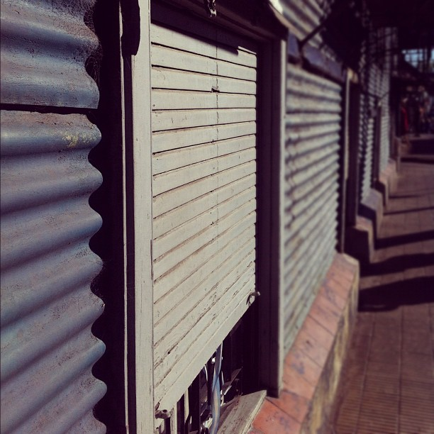 Doors and sunlight in La Boca, Buenos Aires, Argentina