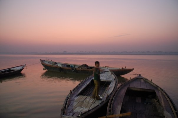 Varanasi in the morning, India, boats