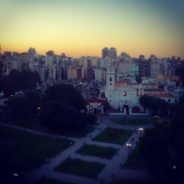 Recoleta cemetery, Buenos Aires, sunset, Argentina