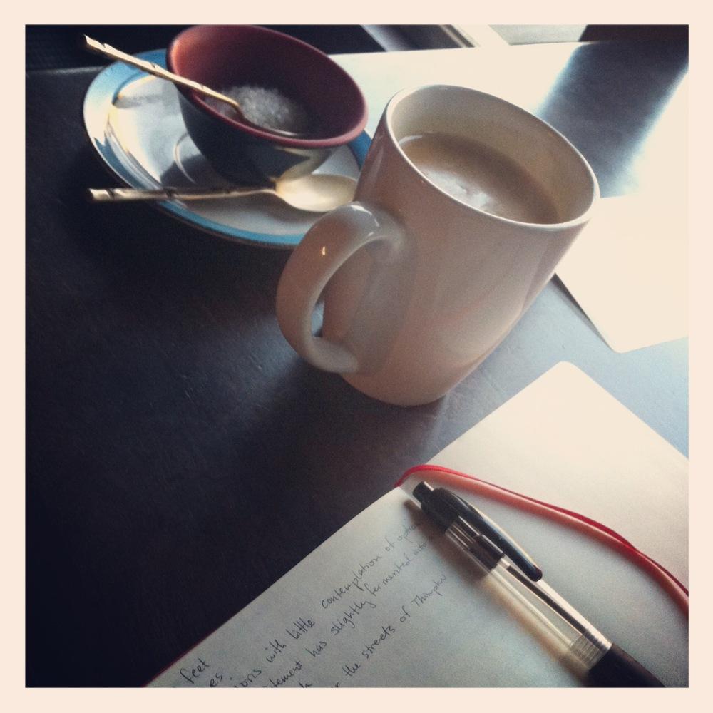 Writing and having tea in Bhutan
