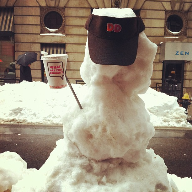 Dunkin Donuts wearing snowman, Boston