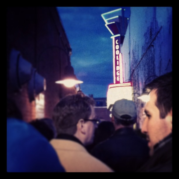 Waiting in line at the Coolidge Corner Theater in Brookline, MA, USA