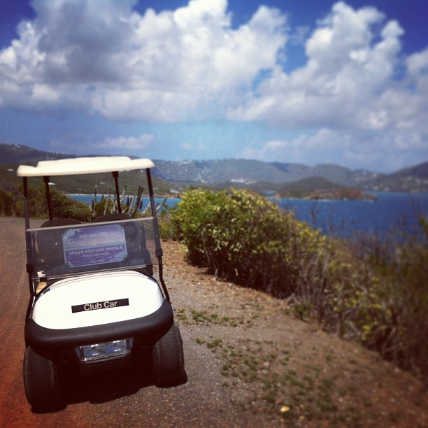 Golf cart in St. Thomas, Water Island, USVI, USA, travel, on the road