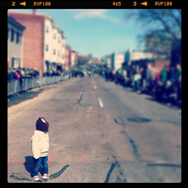 Max on the road in Southie, St. Patrick's Day parade, Boston, MA, USA, family, nephew