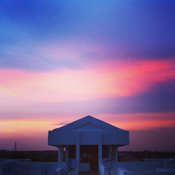 Watercolor sunset skies at Indus, Mokilla, Hyderabad, India