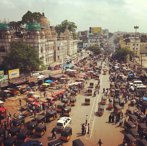 View from atop Charminar, Hyderabad, India