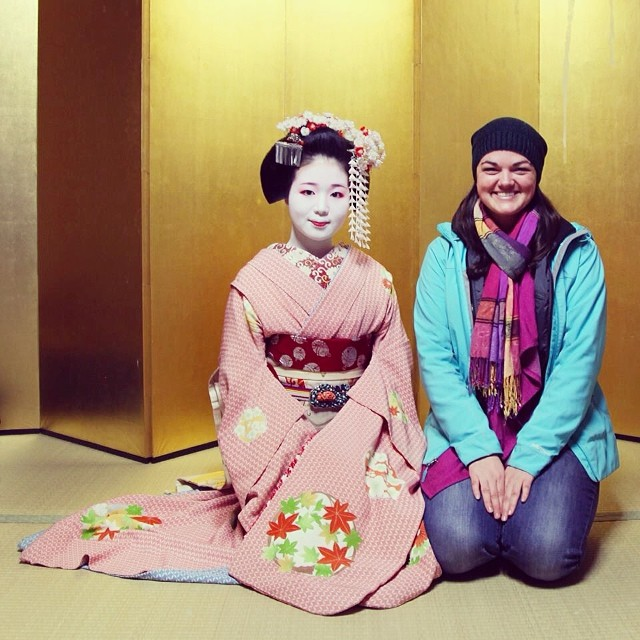 Lindsay and a geisha in Kyoto, Japan