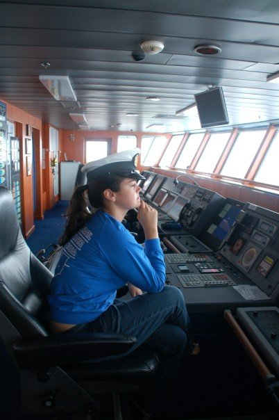 Lindsay in bridge at Captain's chair on MV Explorer, 2007