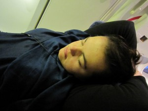 Sleeping on an eleven hour plane ride