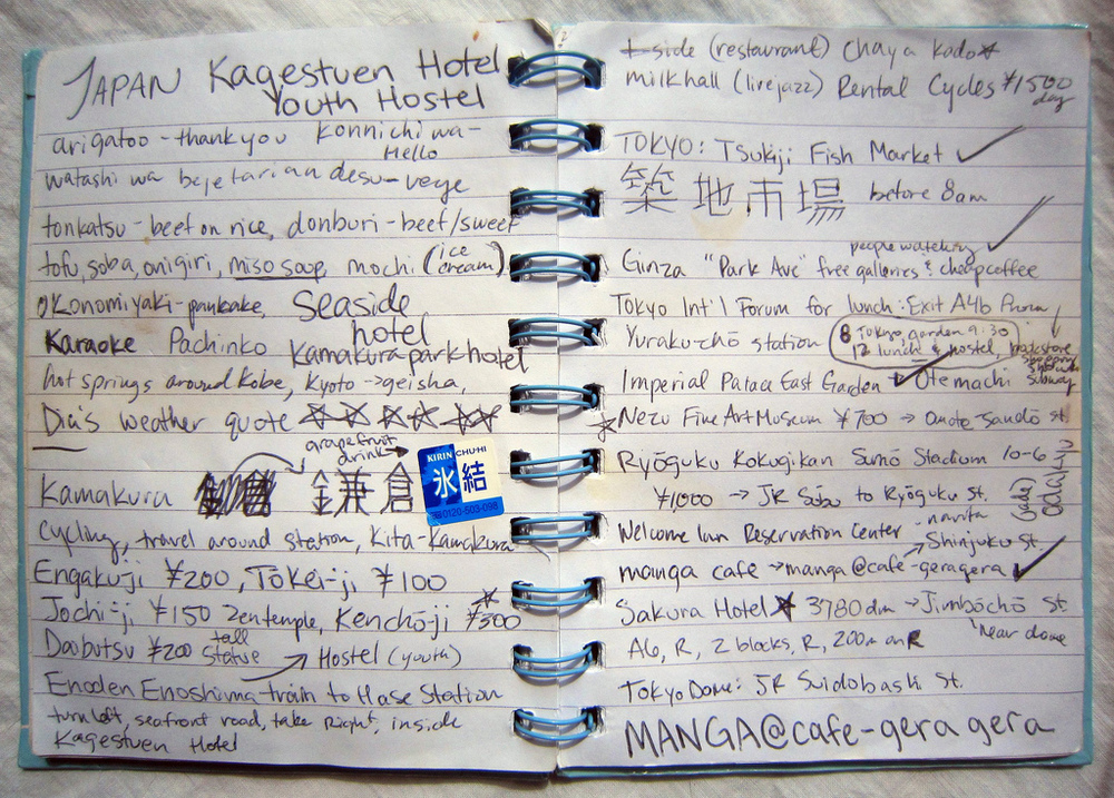 My notebook for Japan on Semester at Sea