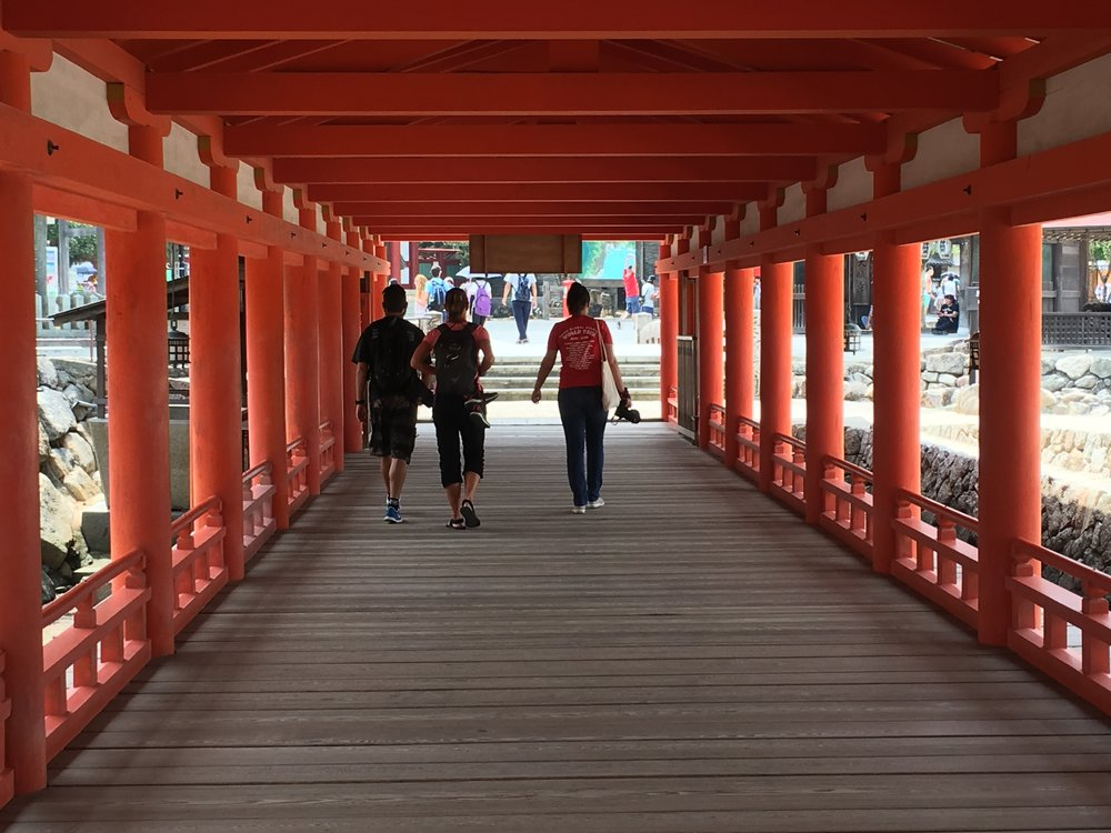 Exploring the shrine on Miyajima Island