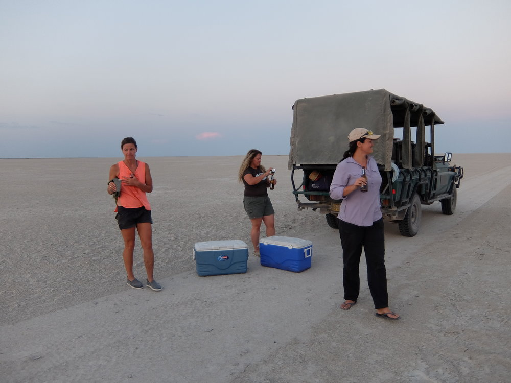 Having a beer at sunset on a salt flat