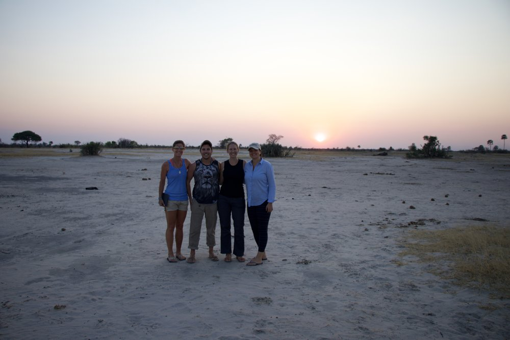 Having sundowners on the border with Botswana and Zimbabwe
