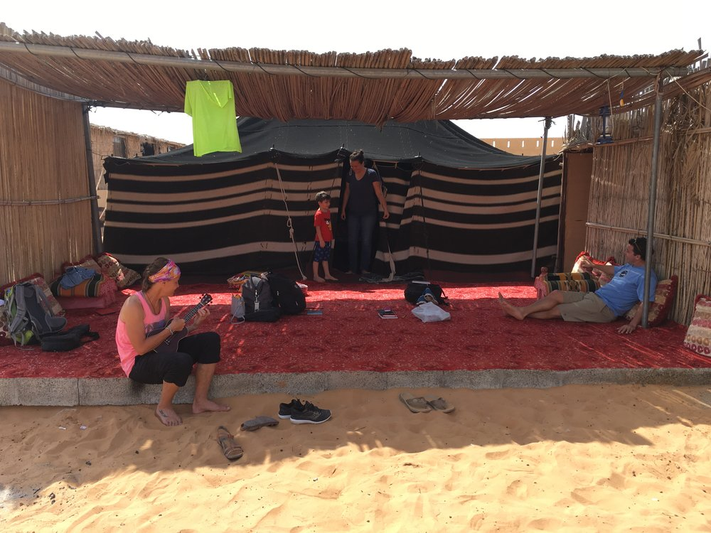 Our Bedouin front porch, hanging with an energetic Italian boy