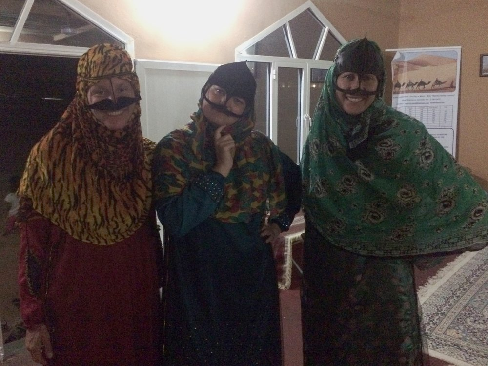 Amanda, Lindsay, and Chelle in traditional Bedouin burkas