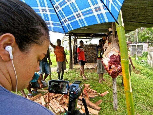 Filming a funeral in Nakavika, Fiji