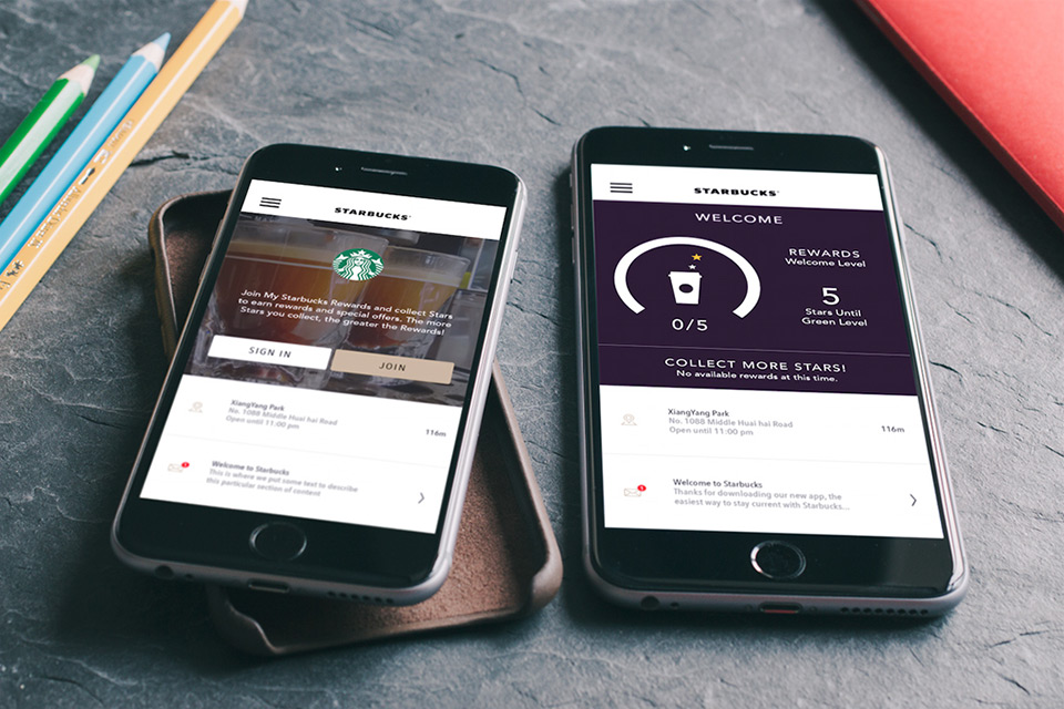 Starbuck China iOS Application front end redesign for iPhone 6+