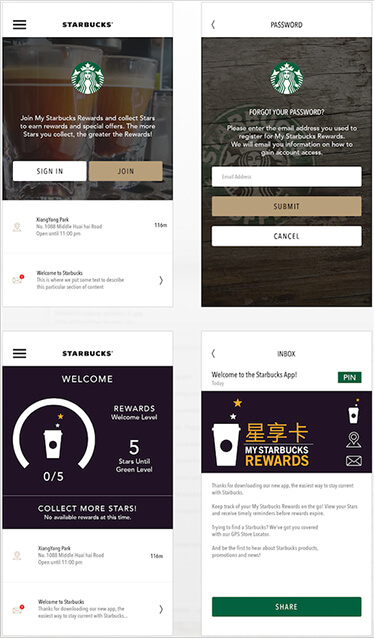 Working design screens for the Starbucks iPhone app