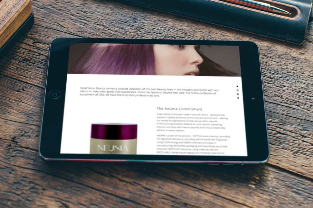iPad view of our rebranding project for Experience Beauty-The Distributor