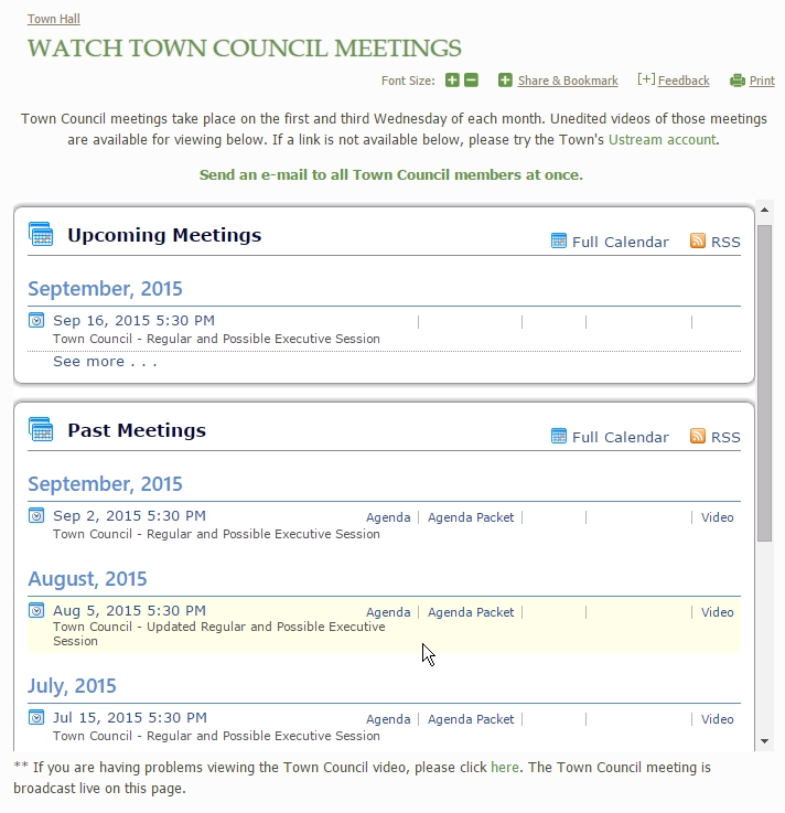 Video management software  - Managed bidding process and implementation of software for broadcasting town council meetings live and on demand on the Internet