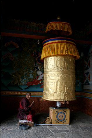 Alicia Morga Bhutan Prayer Wheel Monk