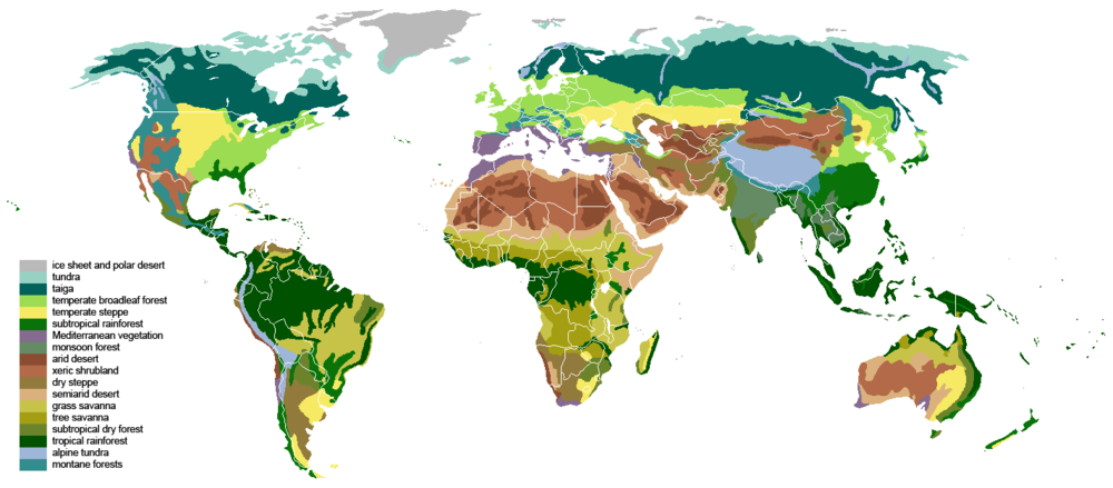 Biome map of the world by Ville Koistinen.  CC BY-SA 3.0