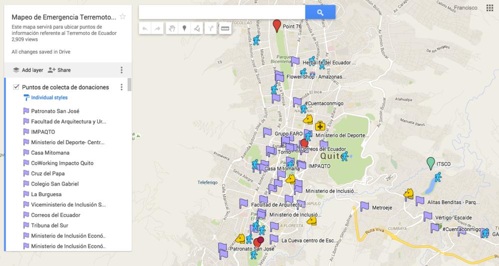 En el caso de Quito se ha iniciado el mapa con algunos puntos para colaborar con donaciones con los horarios en los cuales están trabajando. Cada uno de ustedes puede ir agregando un punto de acuerdo a la información que dispongan.