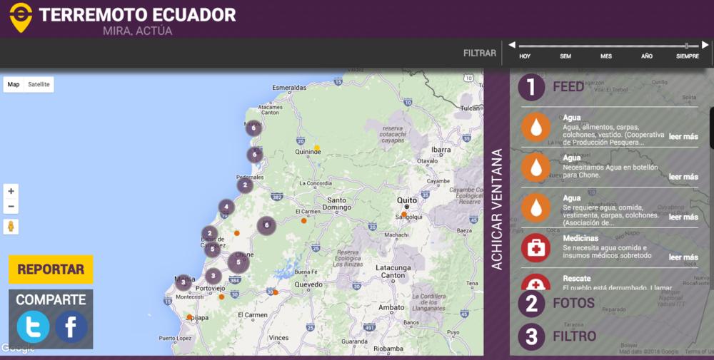 Terremotoecuador.com también puede ser utilizado para reportar eventos, compartir fotos, y pedir asistencia de diferentes tipos.