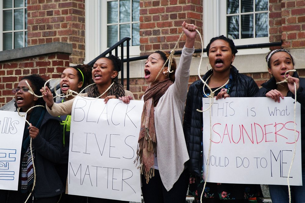 #BlackLivesMatter activists protest name of building. Photo: Daily Tar Hell