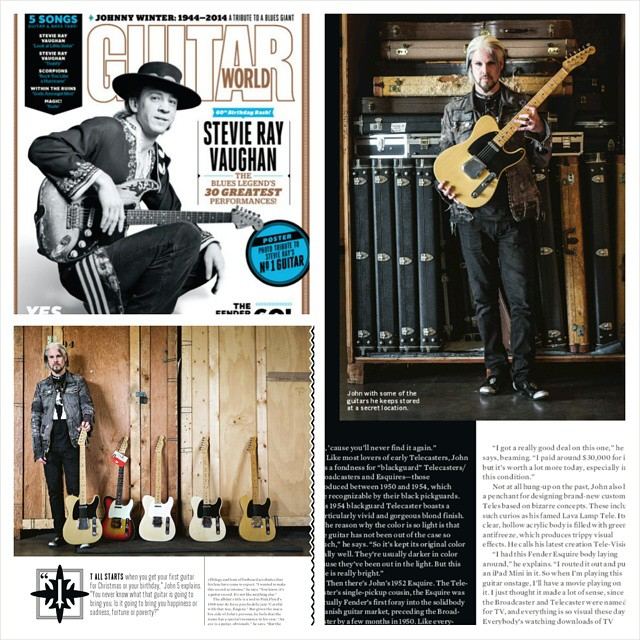 So this is awesome. #john5 rocking our purple jacket in #guitarworldmag October issue. Go pick it up!