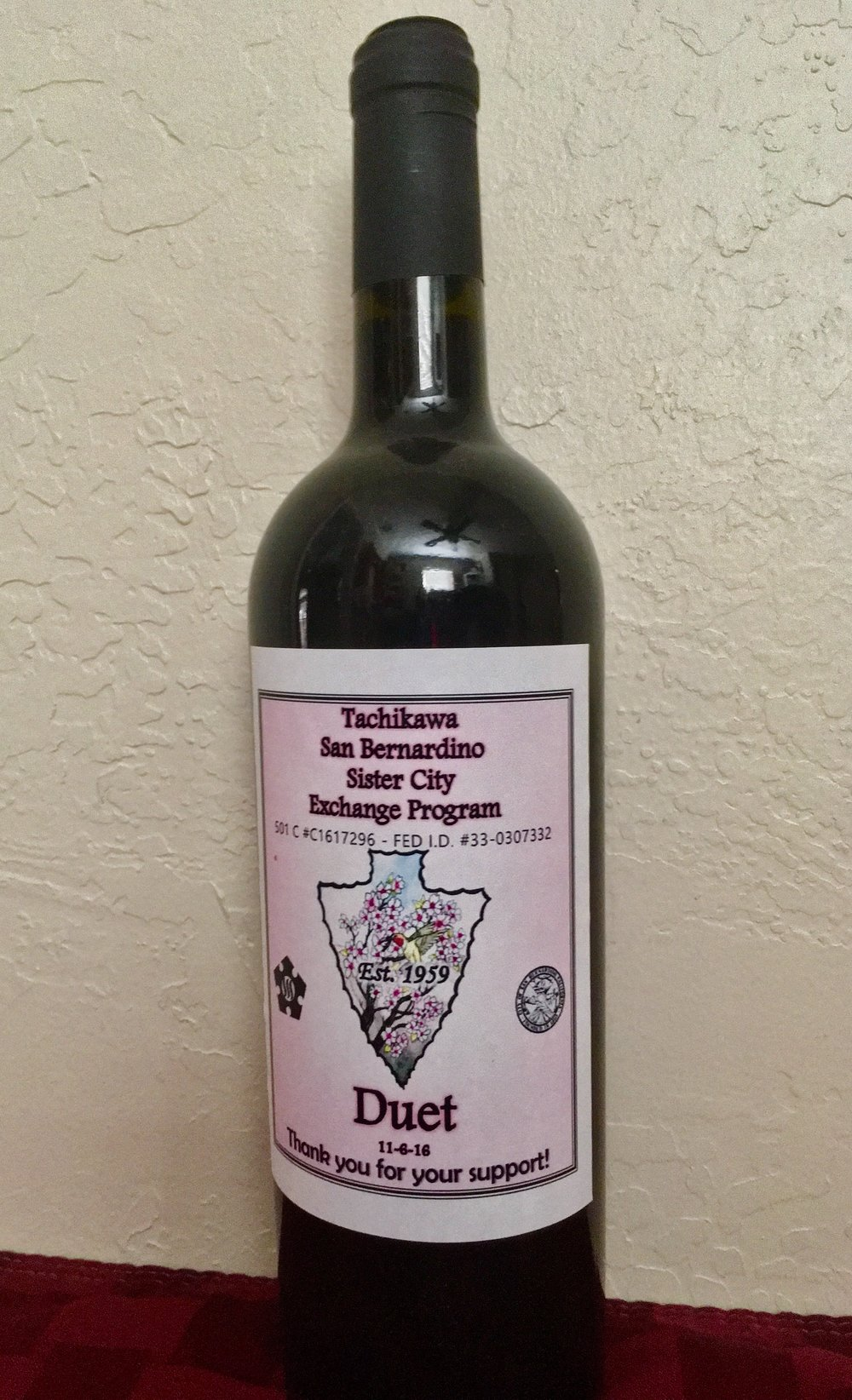Wine Bottle from our first Wine Tasting in 2016.