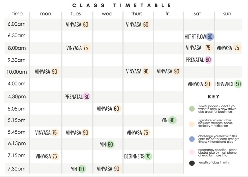 Wollongong Yoga Timetable