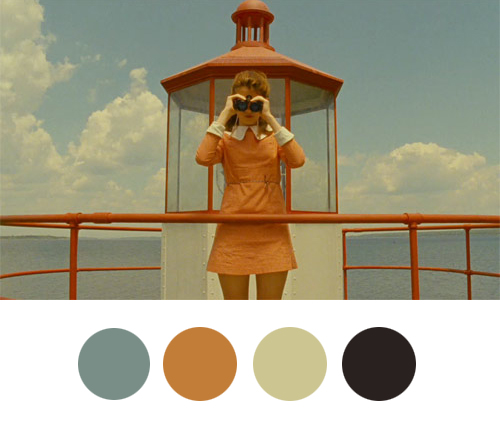 wesandersonpalettes :     Sam: Why do you always use binoculars?   Suzy: It helps me see things closer. Even if they're not very far away. I pretend it's my magic power.     Follow  a new Tumblr that features stills of scenes from Wes Anderson films  and  highlights each scene's color palette ? Why not?   File under:  Today's spot o' color .