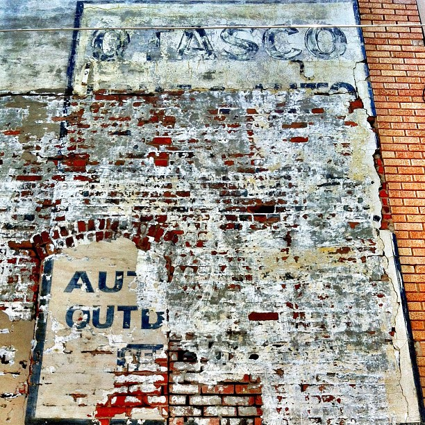 Today, in Corsicana, Texas: Ghost signs, brick porn, extreme heat.  (Taken with  Instagram  at Corsicana, Texas)