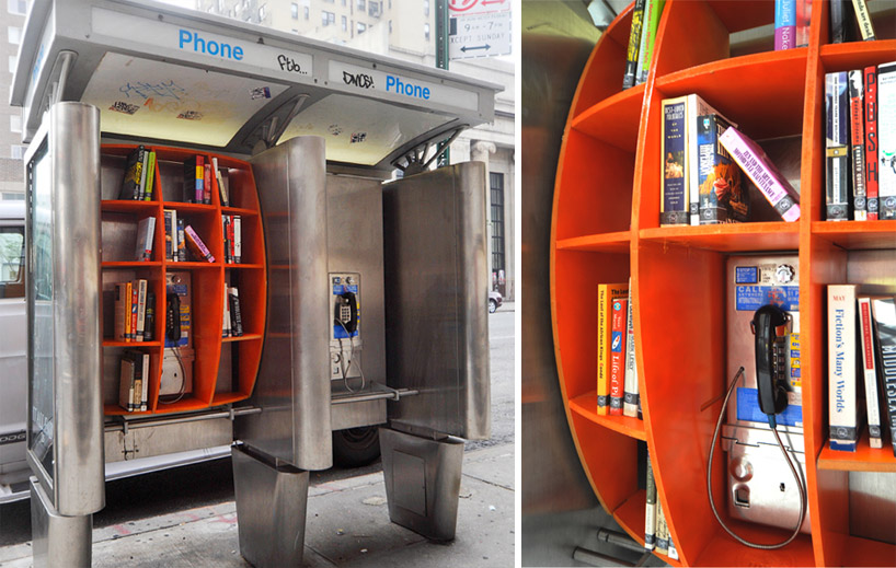 unconsumption: utnereader: Phone booths re-purposed as micro-libraries in New York City. (via Designboom) I love urban interventions, especially when books are involved. (Check out this newspaper stand converted into a community lending library, if you haven't already seen it.) Anyway, this NYC phone-booth-turned-book-swap is a great addition to the group of repurposed phone booths featured previously on Unconsumption (here), which includes other micro-libraries in various cities. Are there other repurposed phone booths that we — your friendly Unconsumption hosts — haven't yet come across?