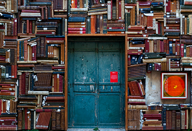 wnycradiolab :      kateoplis :      Palazzo Toschi Mosca inner court   (via  Yewknee )      Is that a fire hose? If so, good thinking.     Beautiful, isn't it? (The wall of books, I mean. Not the fire hose.) File under: bookshelf of the week.