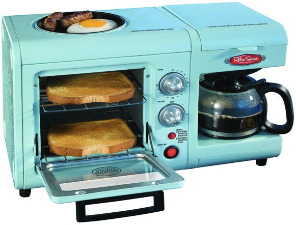 npr :     WANT! —  Tanya     laughingsquid :      Nostalgia Electrics Retro Series 3-in-1 Breakfast Station        Compact, multi-purpose design – good for small spaces, methinks.