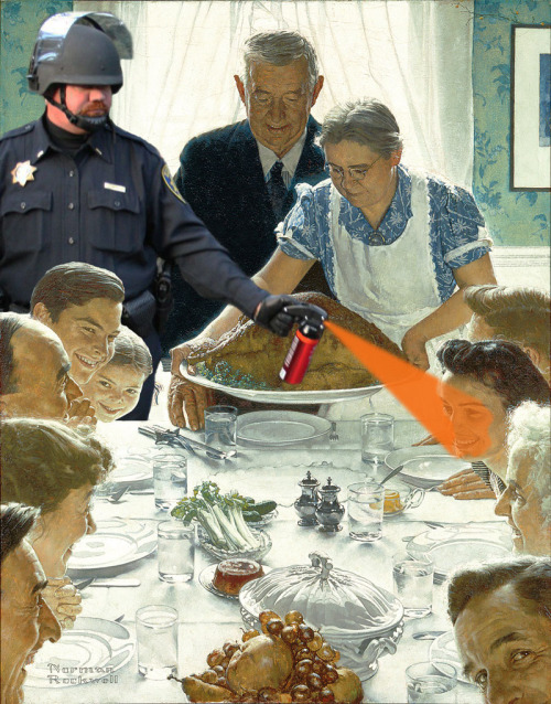hyperallergic :     Happy Thanksgiving to all the Americans! Poor Norman Rockwell.   Check out  our Thanksgiving Rockwell remixes  from last year.      nic-rad :     Clever    peterfeld ->  coke talk : Here's my little contribution to the  Pepper Spray Cop meme .         On Thanksgiving, doing my small part in helping to extend the life of the pepper spray cop meme.