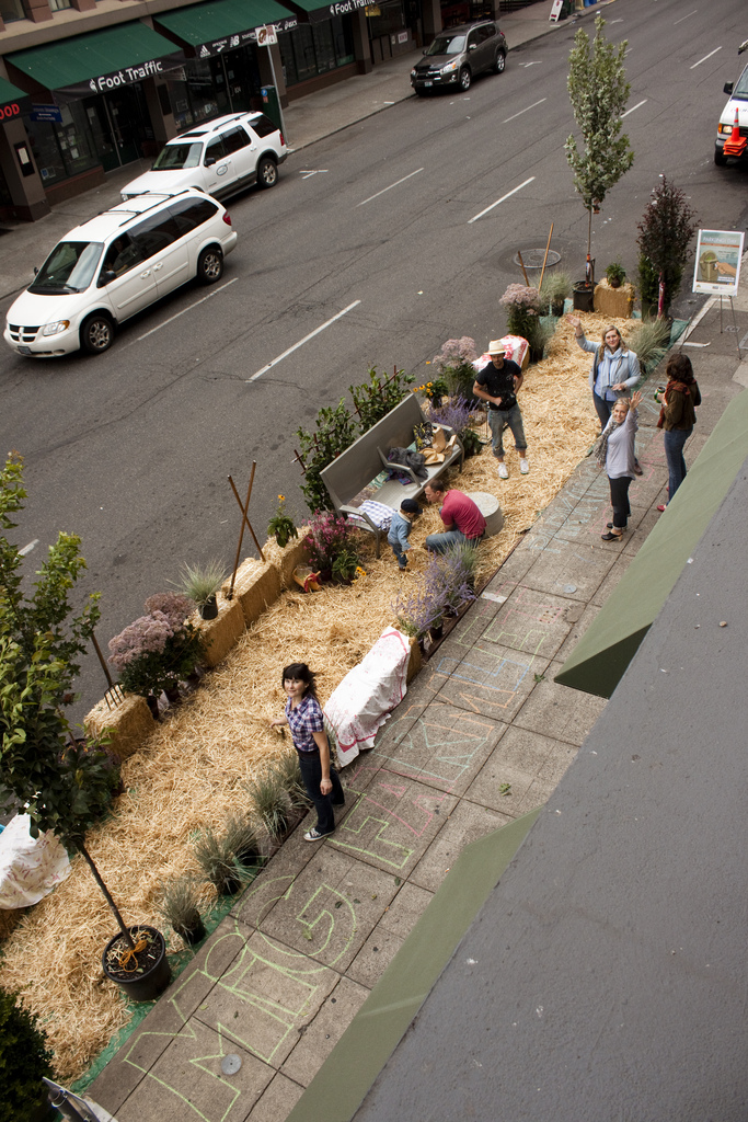 "Via  gardensinunexpectedplaces :     Via  steveleathers :     For PARK(ing) Day, my company created an Urban Farmlet on SW 2nd Street in Portland (between Taylor and Yamhill).        It's only two parking spots, but it feels like a lot more. If you're in the area, come by and check it out. Have some lemonade. Enjoy some space that you normally wouldn't have the chance to.         Happy 2011  PARK(ing) Day , y'all.      PARK(ing) Day is an annual, worldwide event that invites citizens everywhere to transform metered parking spots into temporary parks for the public good.     Click  here  to view a map of cities where residents have set up pop-up parks.    See also: Earlier Gardens in Unexpected Places post  here .     Today, in ""things I love."""