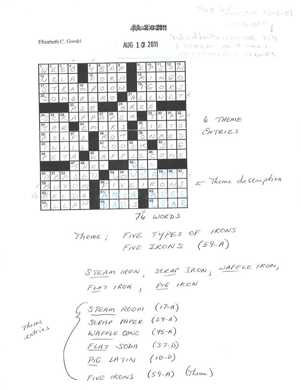 "Via  theatlantic :      How Will Shortz Makes a New York Times Crossword Puzzle      ""Every crossword in the Times is a collaboration between the puzzle-maker and the puzzle editor. On average, about half the clues are mine. I may edit as few as five or ten percent of the clues, or as many as 95 percent for someone who does a great puzzle but not great clues. Why accept a puzzle when I'm going to edit 95 percent of the clues? Well, if someone sends me a great puzzle with an excellent theme and construction—you want fresh, interesting, familiar vocabulary throughout the grid—I feel it would be a shame to reject it on account of the clues, because I can always change them myself.   This puzzle came from Elizabeth Gorski, one of the pros. Liz is great at putting fresh entries at the short spaces of a grid. That's very hard to do. There was one thing about the construction I didn't like, and that was at 35 Down. The answer was LORELAI, and the sirens on the Rhine are of course ""Lorelei,"" with an ""e-i."" Liz's clue was Rory's mom on Gilmore Girls, and I didn't think followers should have to know that. Sometimes I'll do little fixes myself. But this was big enough that I asked her to revise the grid. You can see the new letters in blue, where I've amended the manuscript. Then the puzzle is accepted. I earmarked it for a Wednesday, because the theme consists of straight-forward English, but it's a little playful.""     Read more at   The Atlantic"