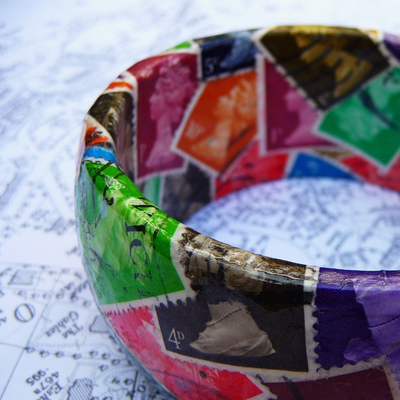 bookspaperscissors :      goodmailday :      british postage stamp bangle - eclectic mix by TalithaAstrellita