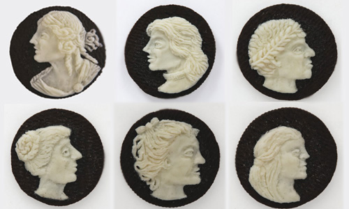 Via  laphamsquarterly :       Oreo cameos    and other brilliant food art from Judith G. Klausner . (via  Kristen Butler )     Amusing.